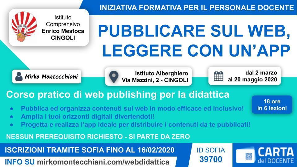 Flyer contenente il titolo del corso, una breve descrizione e le modalità di partecipazione.